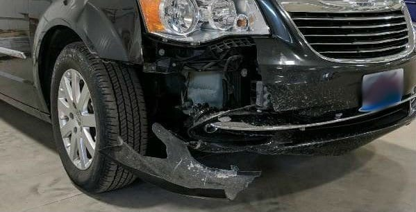 A truck in need of collision repair in Springfield, IL